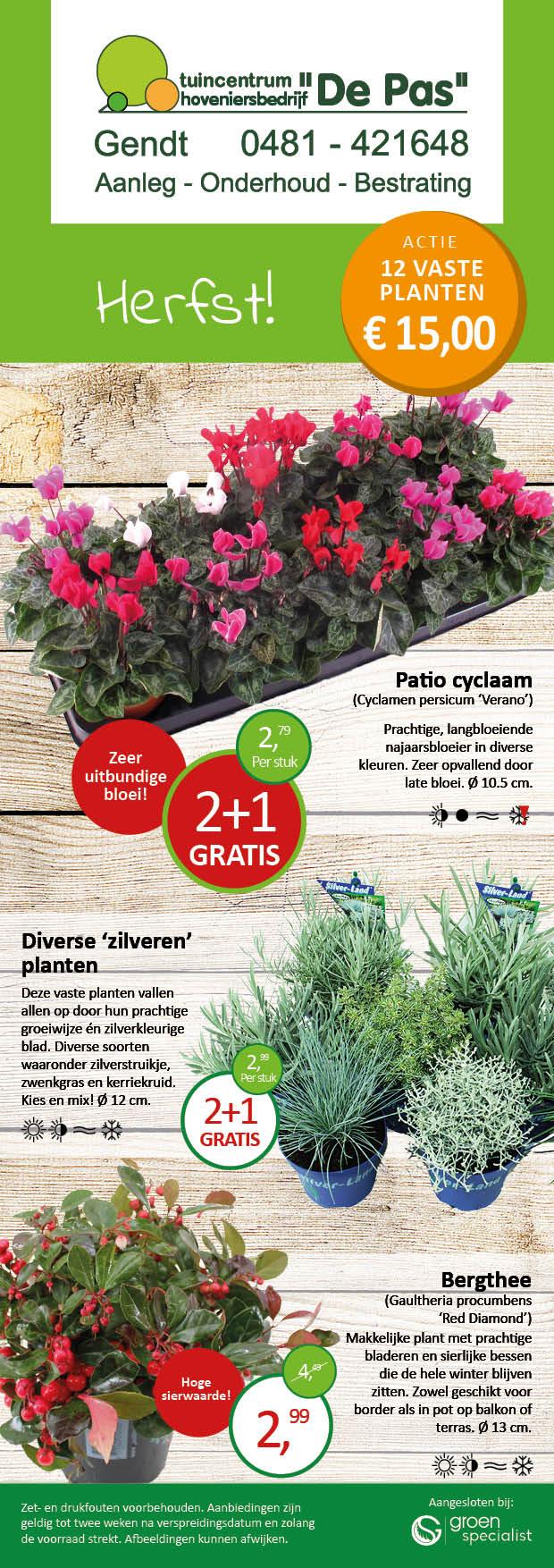 Folder aanbiedingen herfst planten bij Tuincentrum de Pas