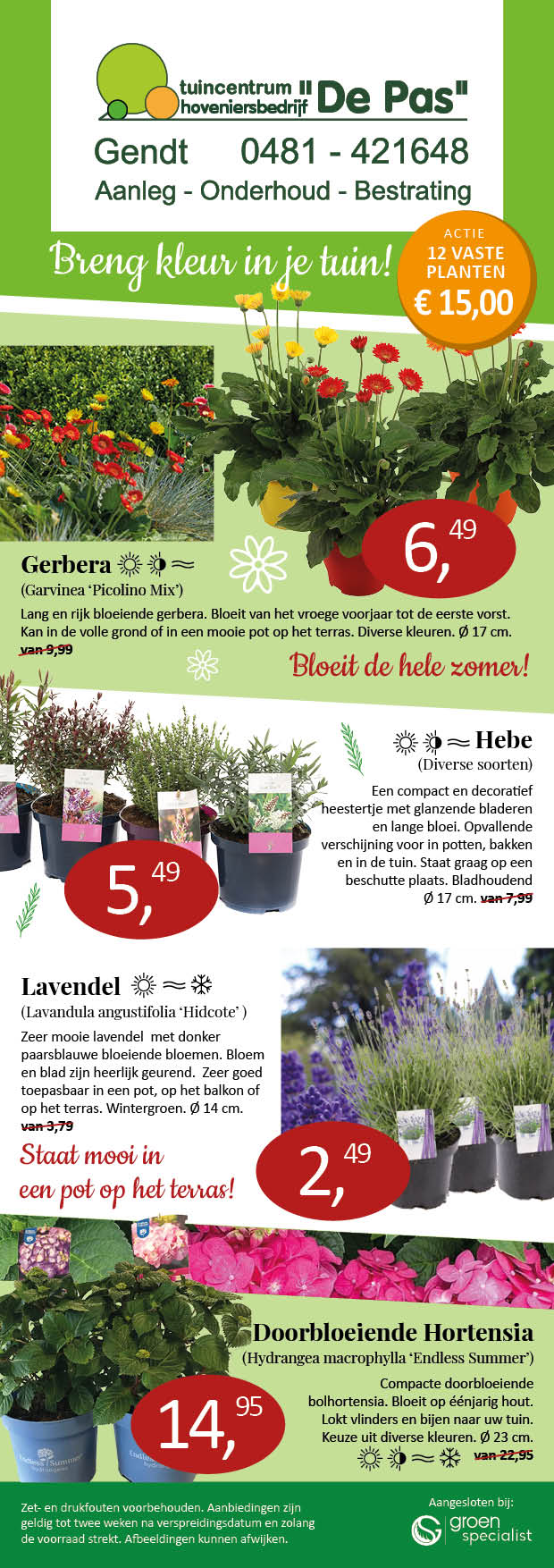 Aanbiedingen planten  Tuincentrum de Pas folder april